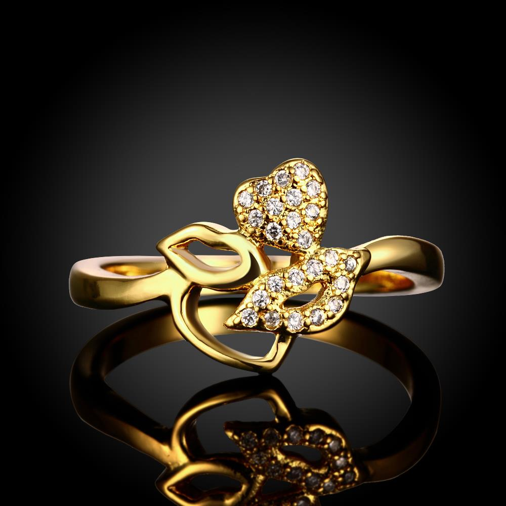 Wholesale Romantic 24K Gold Plant White CZ Ring TGGPR251 2