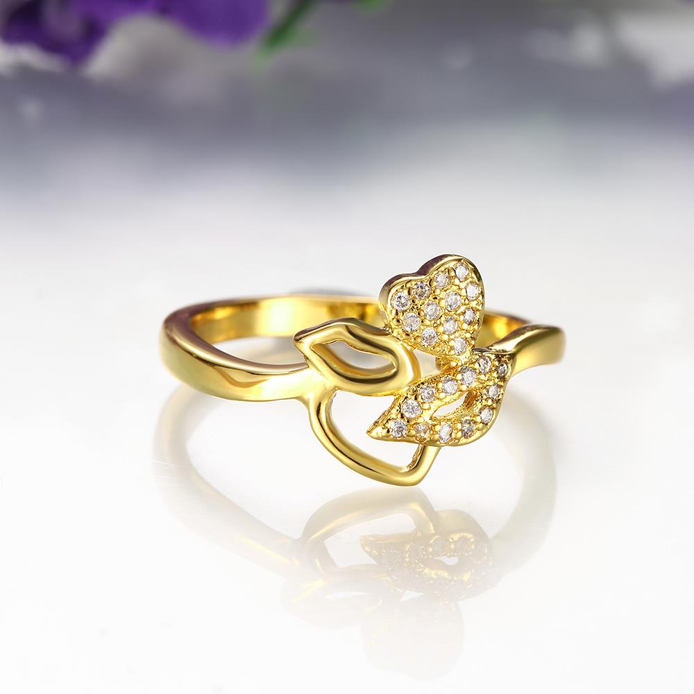Wholesale Romantic 24K Gold Plant White CZ Ring TGGPR251 3