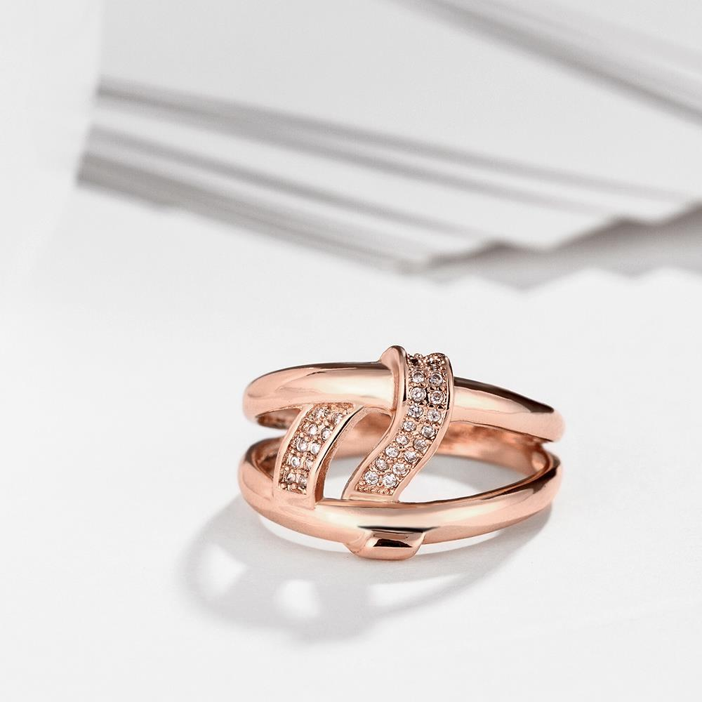Wholesale Classic Rose Gold Geometric White CZ Ring TGGPR328 3