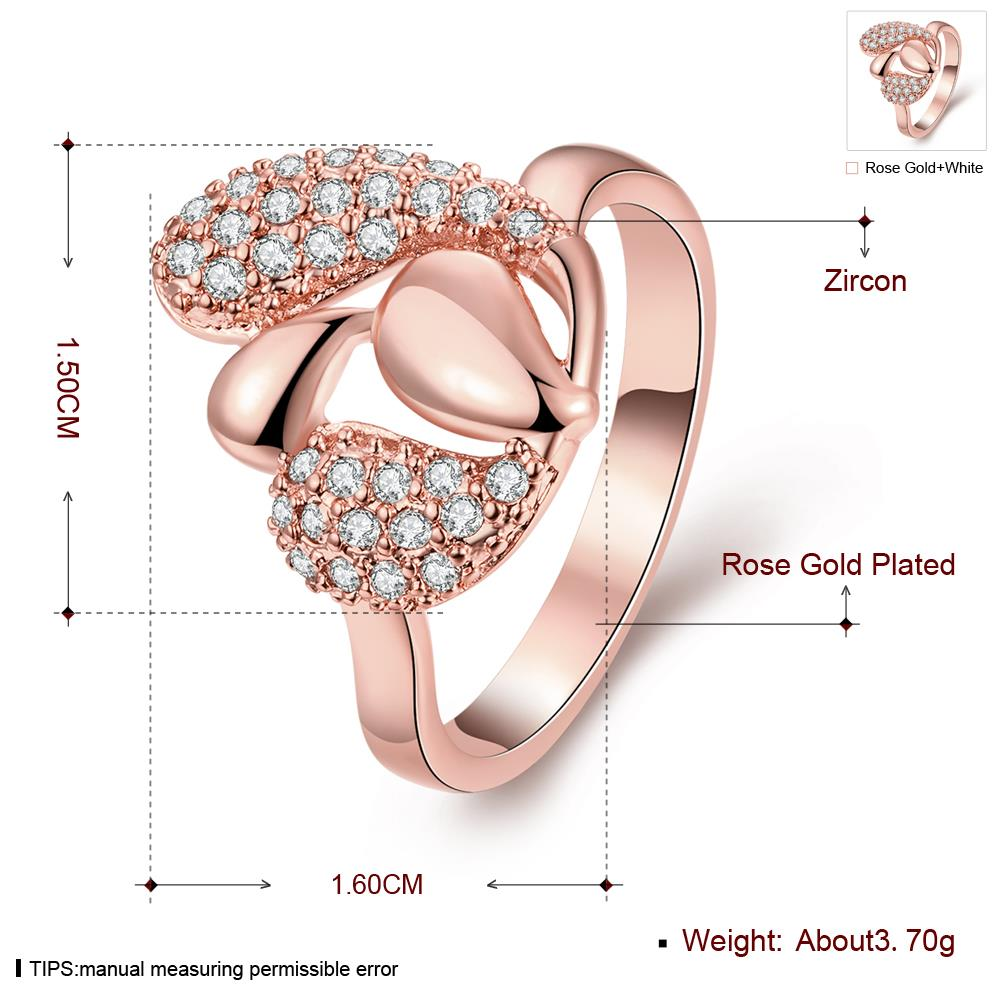 Wholesale Romantic Rose Gold Plant White CZ Ring TGGPR342 0
