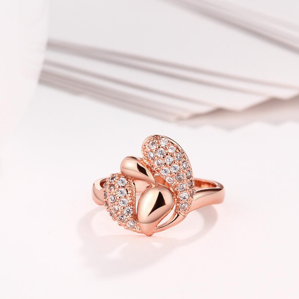 Wholesale Romantic Rose Gold Plant White CZ Ring TGGPR342 3