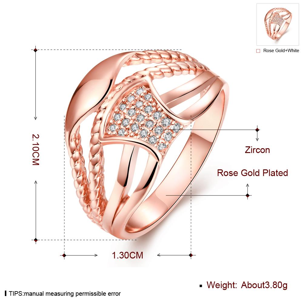 Wholesale Classic Rose Gold Geometric White CZ Ring TGGPR356 1