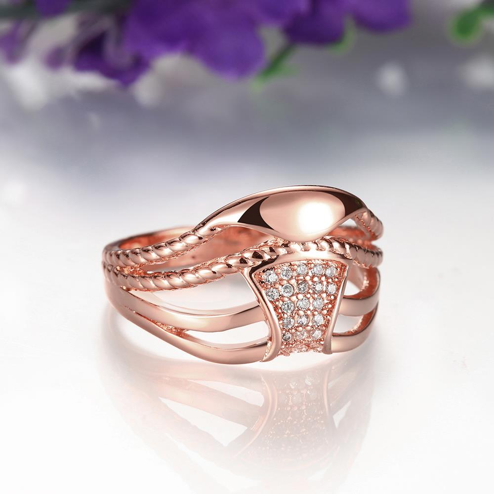 Wholesale Classic Rose Gold Geometric White CZ Ring TGGPR356 3
