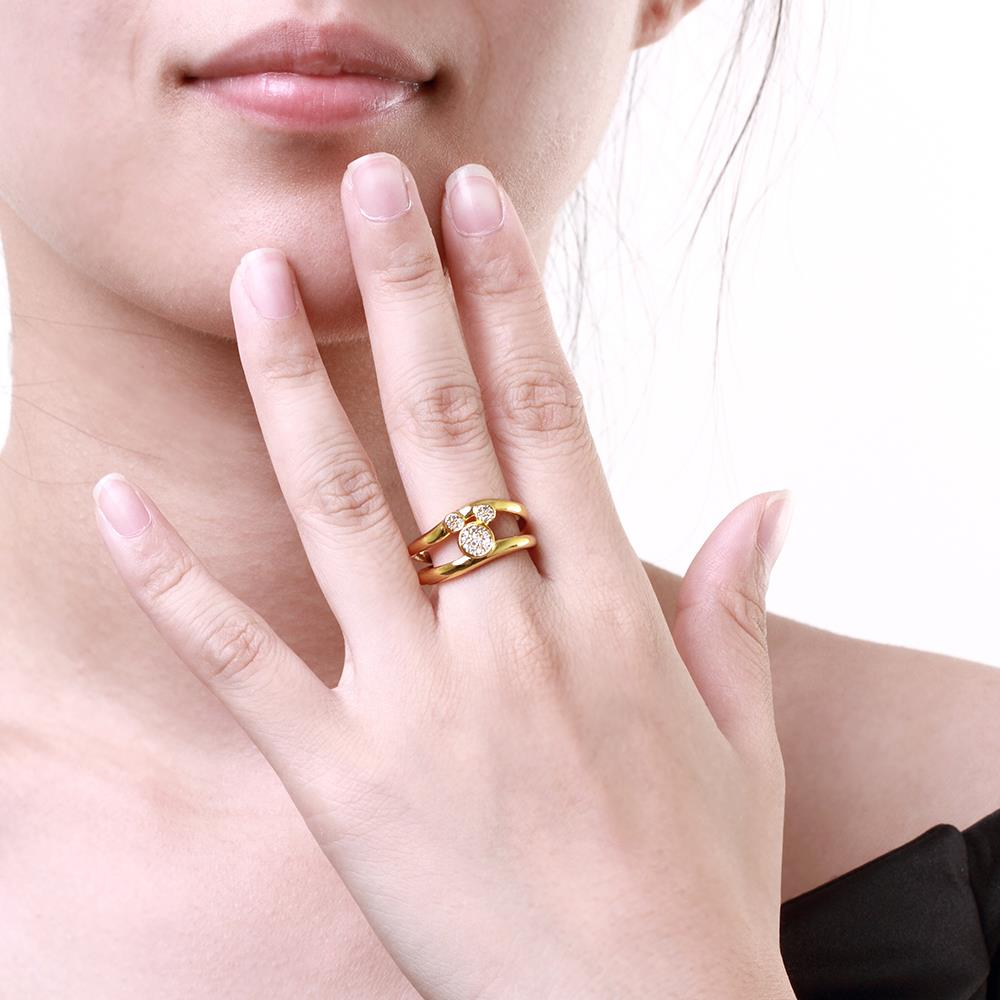 Wholesale Classic 24K Gold Animal White CZ Ring TGGPR363 2