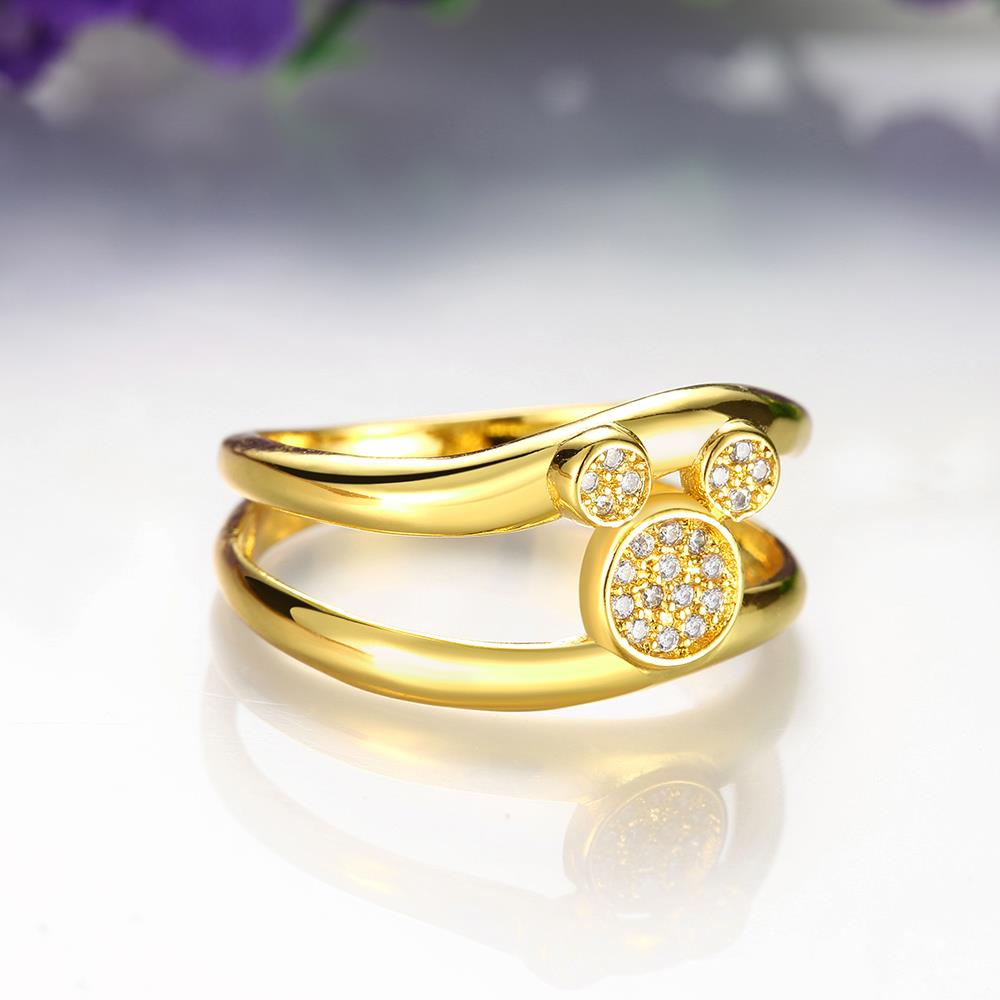 Wholesale Classic 24K Gold Animal White CZ Ring TGGPR363 3