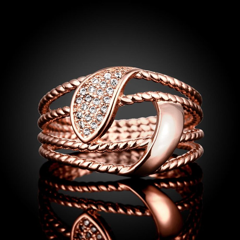Wholesale Romantic Rose Gold Plant White CZ Ring TGGPR384 1