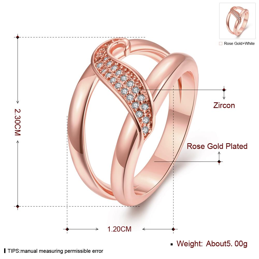 Wholesale Romantic Rose Gold Plant White CZ Ring TGGPR395 0