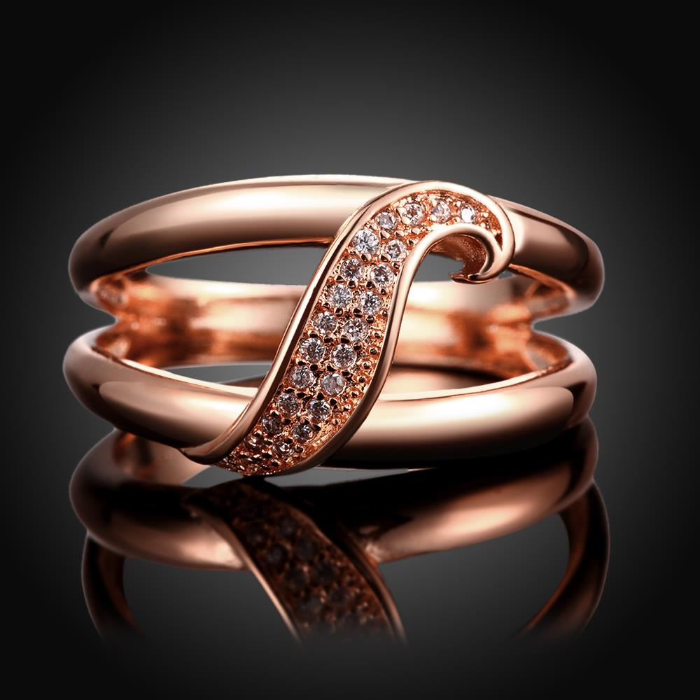 Wholesale Romantic Rose Gold Plant White CZ Ring TGGPR395 1