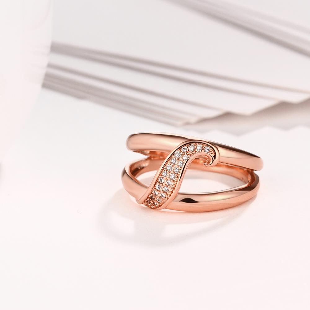 Wholesale Romantic Rose Gold Plant White CZ Ring TGGPR395 2
