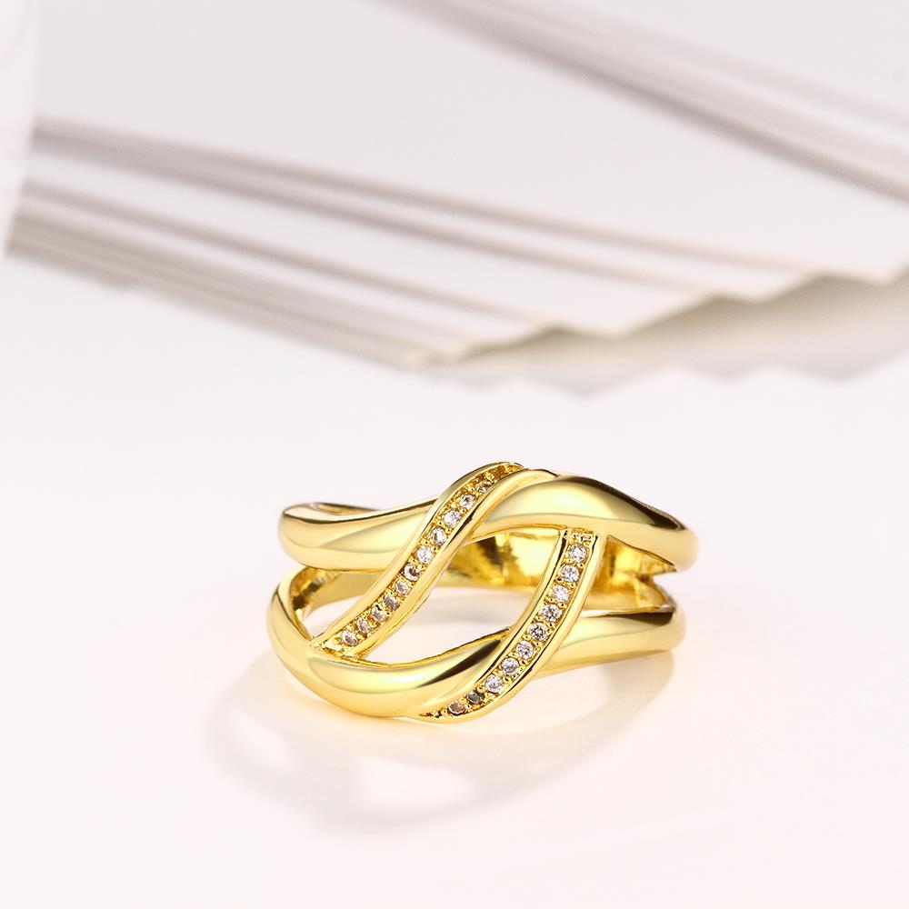 Wholesale Bohemia 24K Gold Geometric White CZ Ring TGGPR401 1