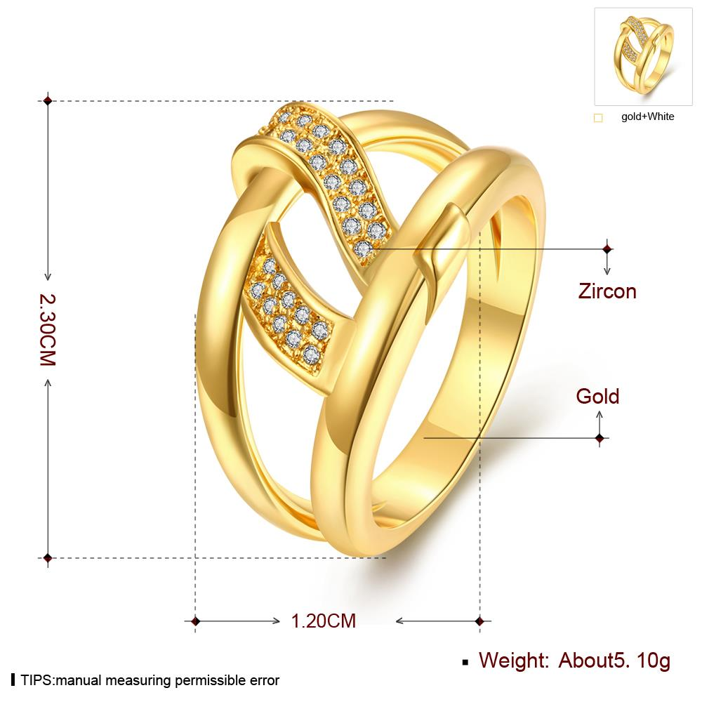 Wholesale Bohemia 24K Gold Geometric White CZ Ring TGGPR401 2