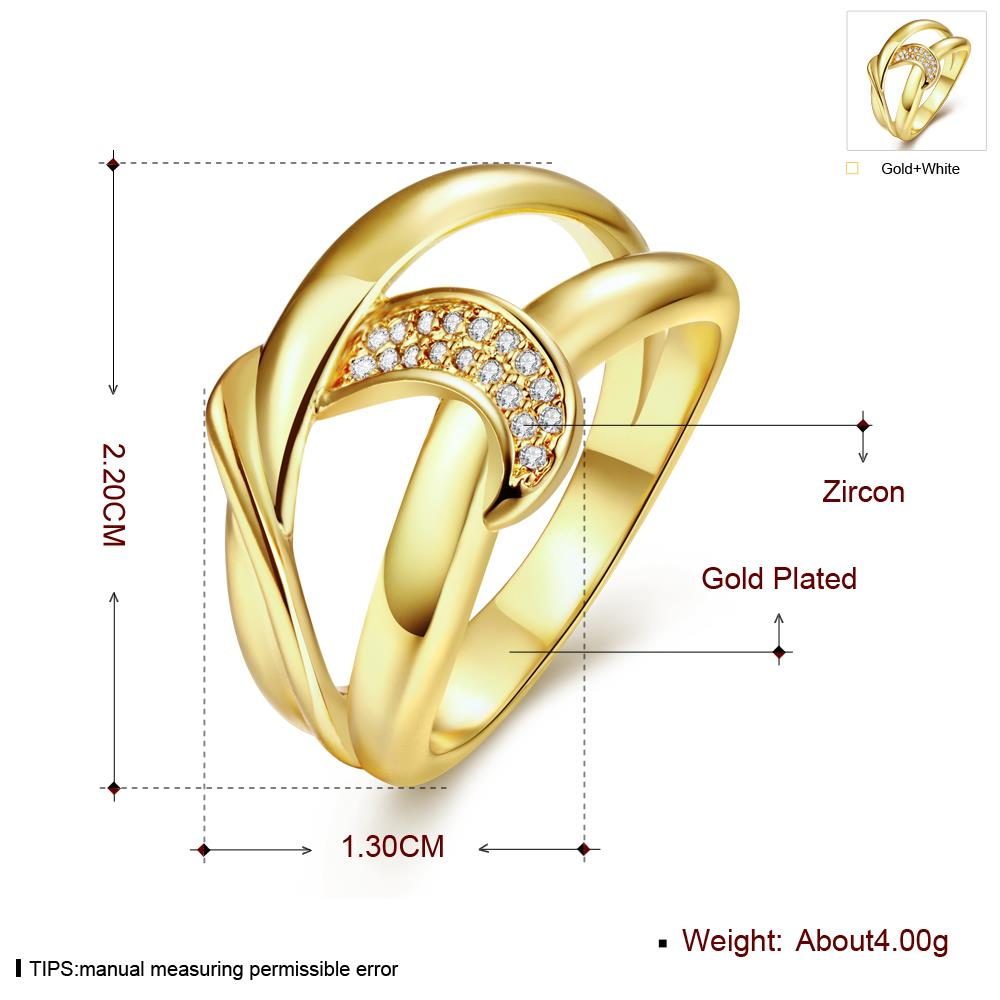 Wholesale Classic 24K Gold Geometric White CZ Ring TGGPR412 1