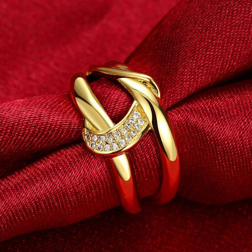 Wholesale Classic 24K Gold Geometric White CZ Ring TGGPR412 2