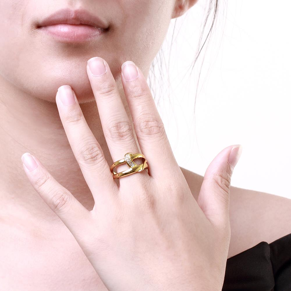 Wholesale Classic 24K Gold Geometric White CZ Ring TGGPR412 3
