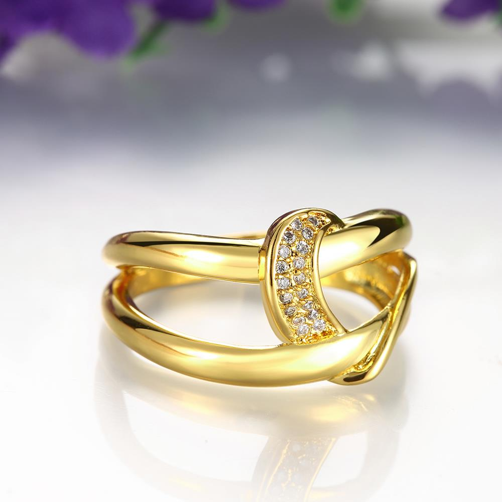 Wholesale Classic 24K Gold Geometric White CZ Ring TGGPR412 4