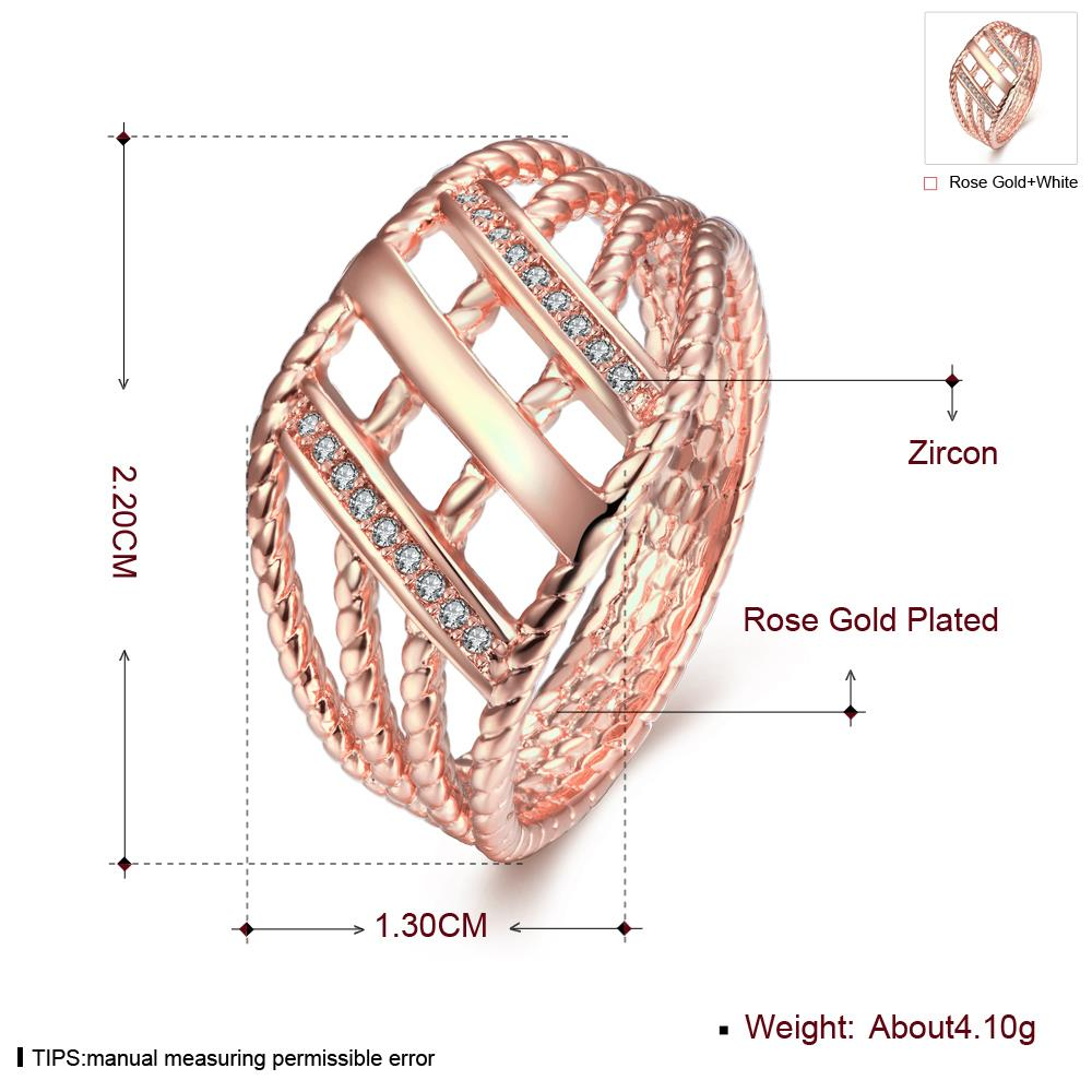 Wholesale Classic Rose Gold Geometric White CZ Ring TGGPR430 0