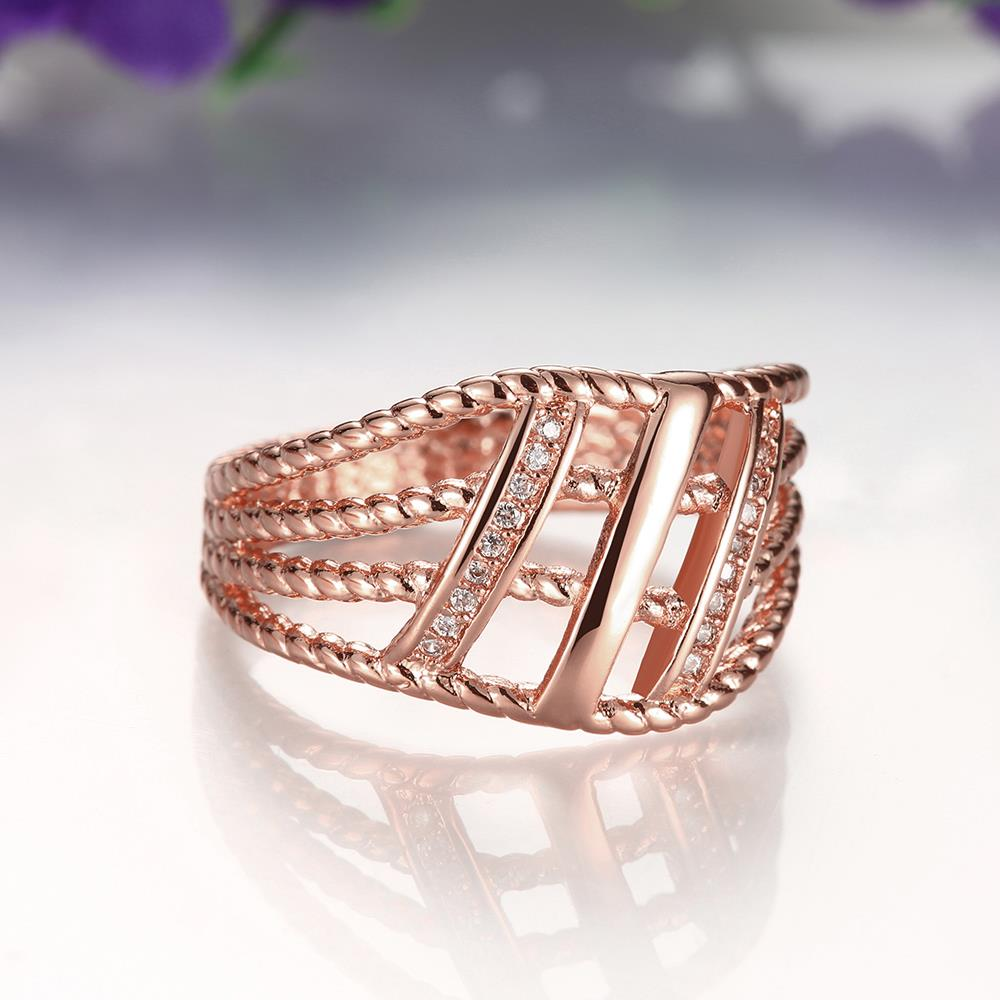 Wholesale Classic Rose Gold Geometric White CZ Ring TGGPR430 2