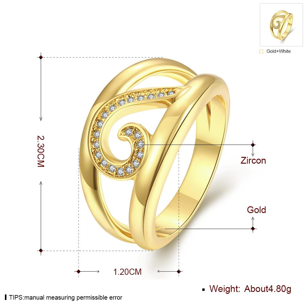 Wholesale Trendy 24K Gold Geometric White CZ Ring TGGPR448 0