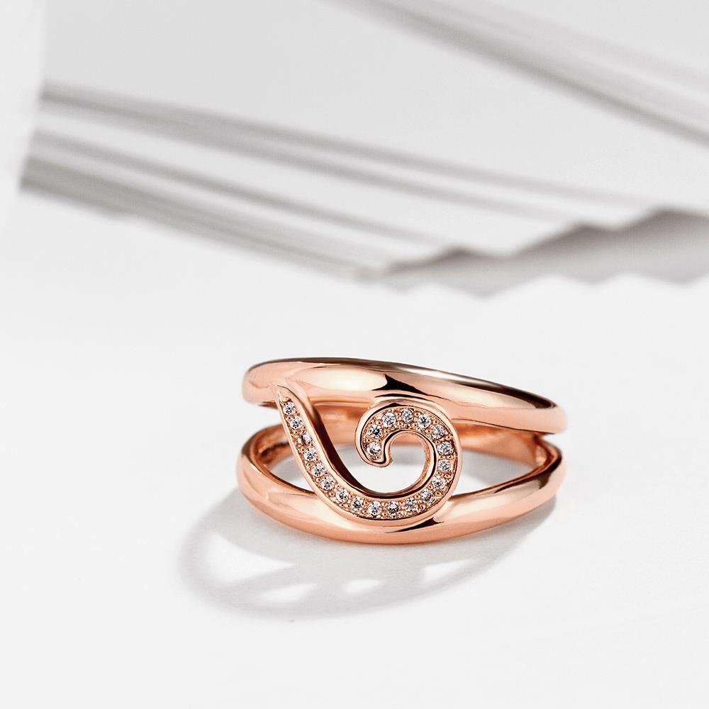 Wholesale Trendy Rose Gold Geometric White CZ Ring TGGPR454 2