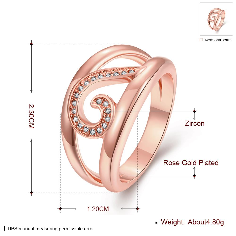 Wholesale Trendy Rose Gold Geometric White CZ Ring TGGPR454 3