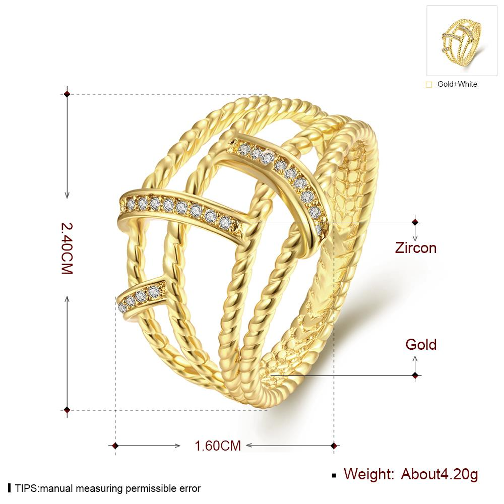 Wholesale Classic 24K Gold Geometric White CZ Ring TGGPR489 0