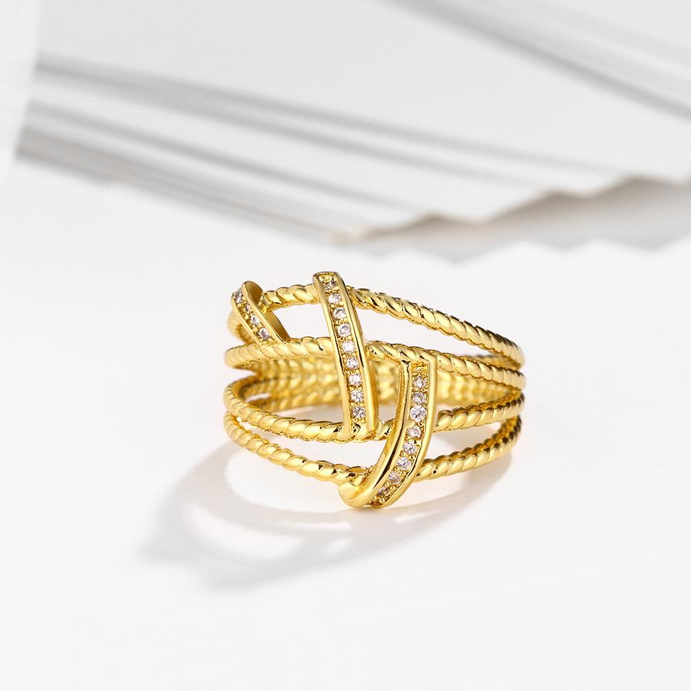 Wholesale Classic 24K Gold Geometric White CZ Ring TGGPR489 4