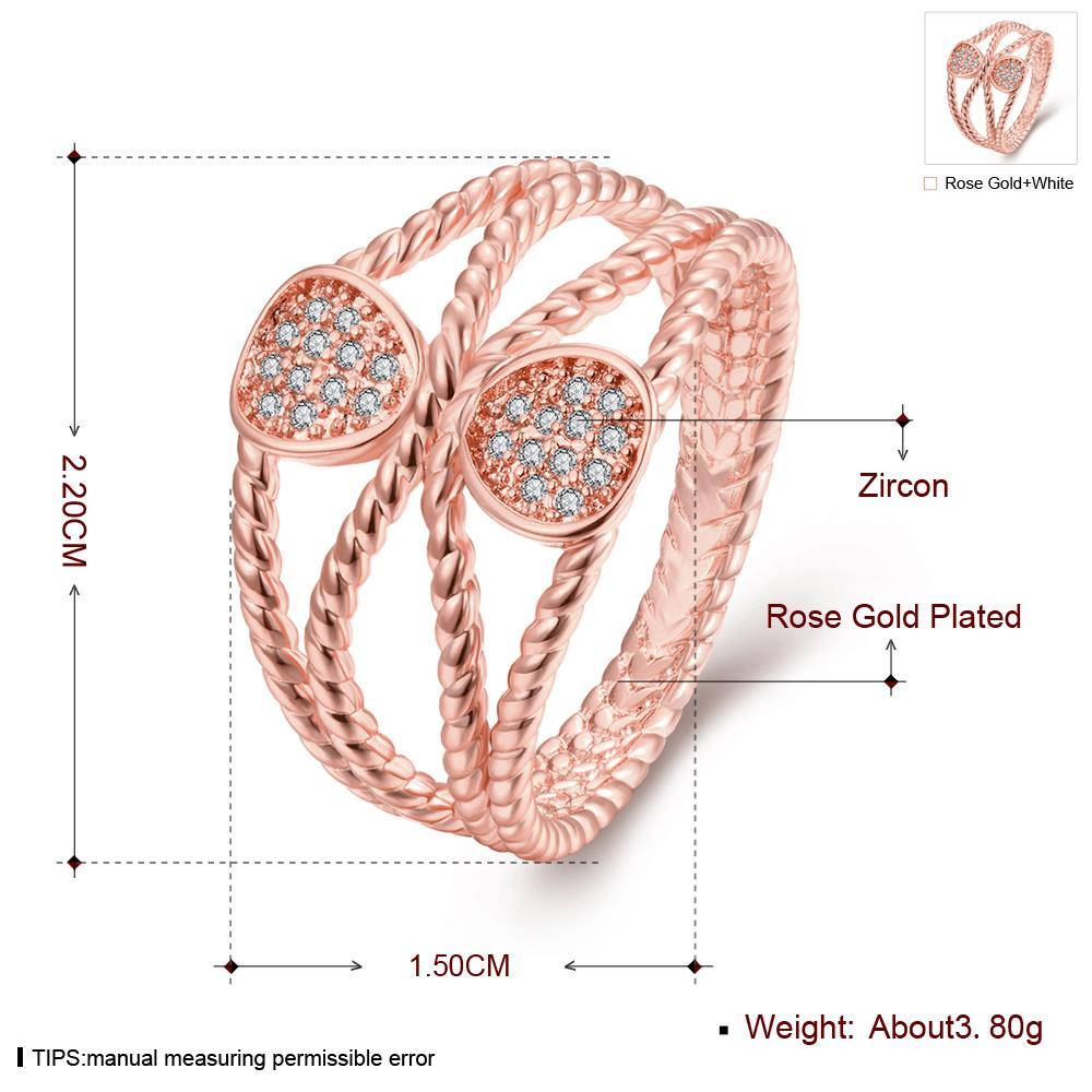 Wholesale Trendy Rose Gold Geometric White CZ Ring TGGPR578 0