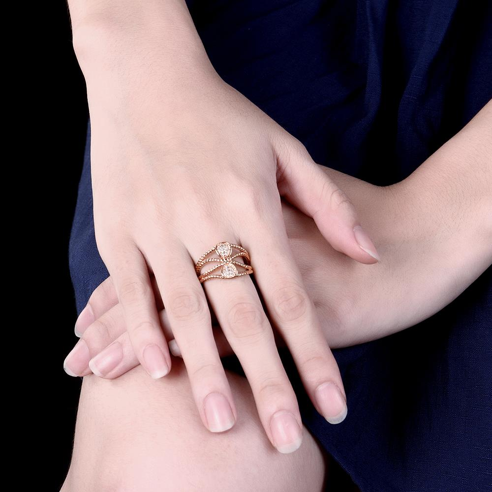 Wholesale Trendy Rose Gold Geometric White CZ Ring TGGPR578 3