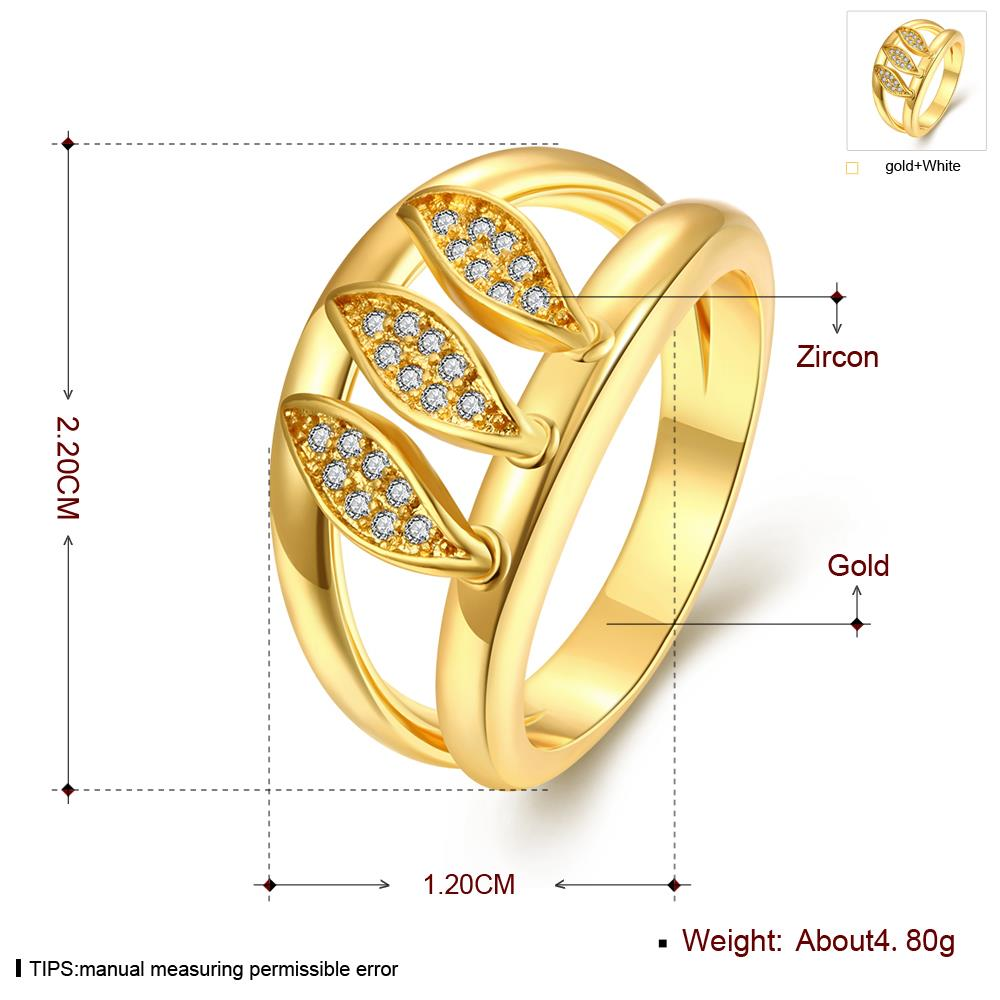 Wholesale Romantic 24K Gold Geometric White CZ Ring TGGPR596 0