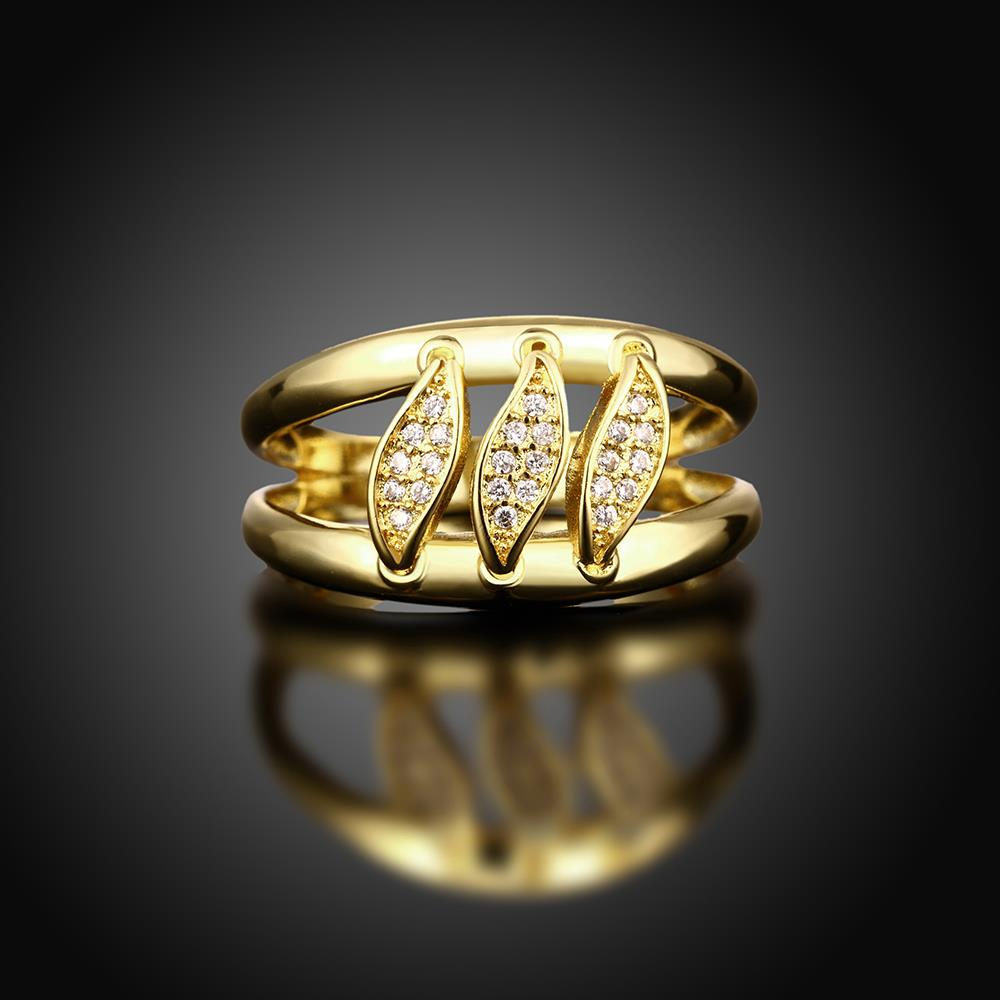 Wholesale Romantic 24K Gold Geometric White CZ Ring TGGPR596 1