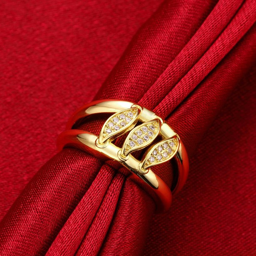Wholesale Romantic 24K Gold Geometric White CZ Ring TGGPR596 2
