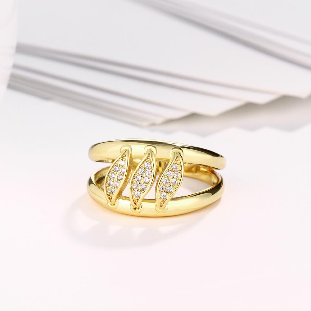 Wholesale Romantic 24K Gold Geometric White CZ Ring TGGPR596 3