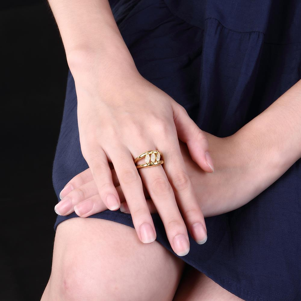 Wholesale Romantic 24K Gold Geometric White CZ Ring TGGPR596 4