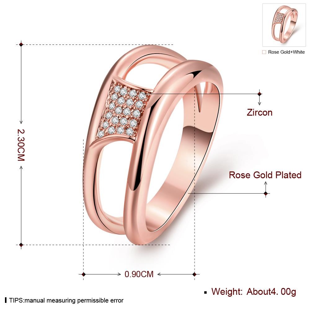 Wholesale Classic Rose Gold Geometric White CZ Ring TGGPR612 0