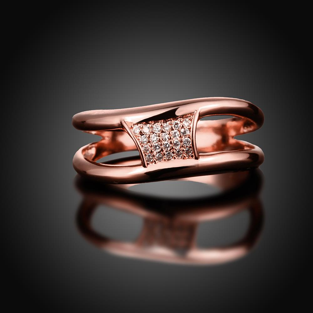 Wholesale Classic Rose Gold Geometric White CZ Ring TGGPR612 1