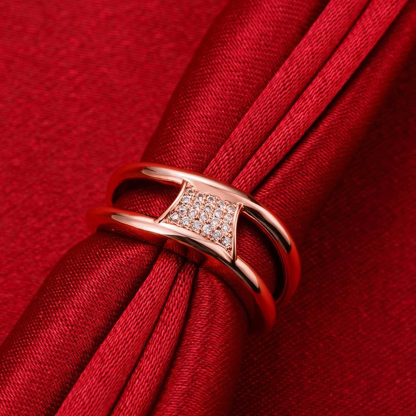Wholesale Classic Rose Gold Geometric White CZ Ring TGGPR612 2
