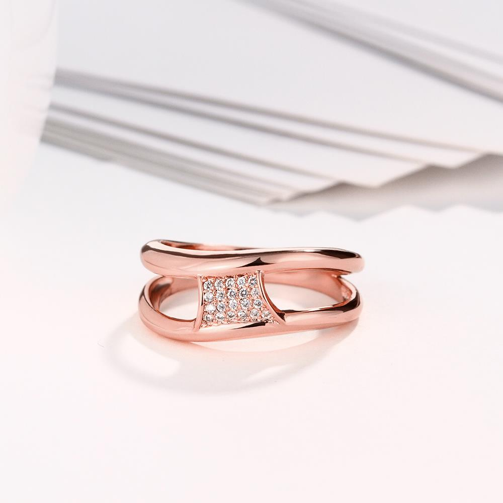 Wholesale Classic Rose Gold Geometric White CZ Ring TGGPR612 3