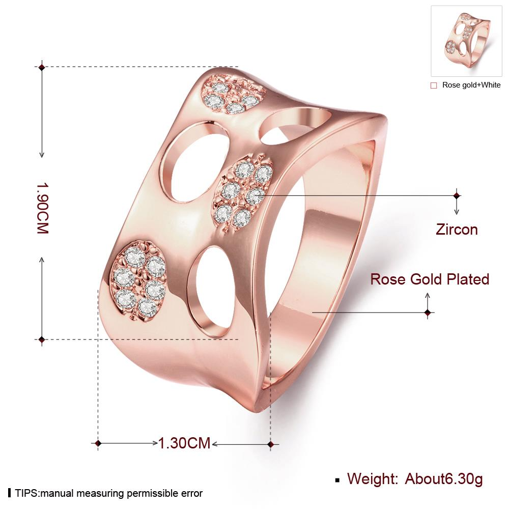 Wholesale Classic Rose Gold Round White CZ Ring TGGPR621 1
