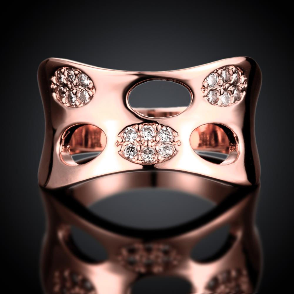 Wholesale Classic Rose Gold Round White CZ Ring TGGPR621 2