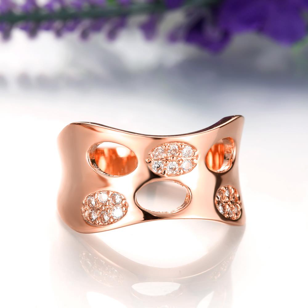 Wholesale Classic Rose Gold Round White CZ Ring TGGPR621 3