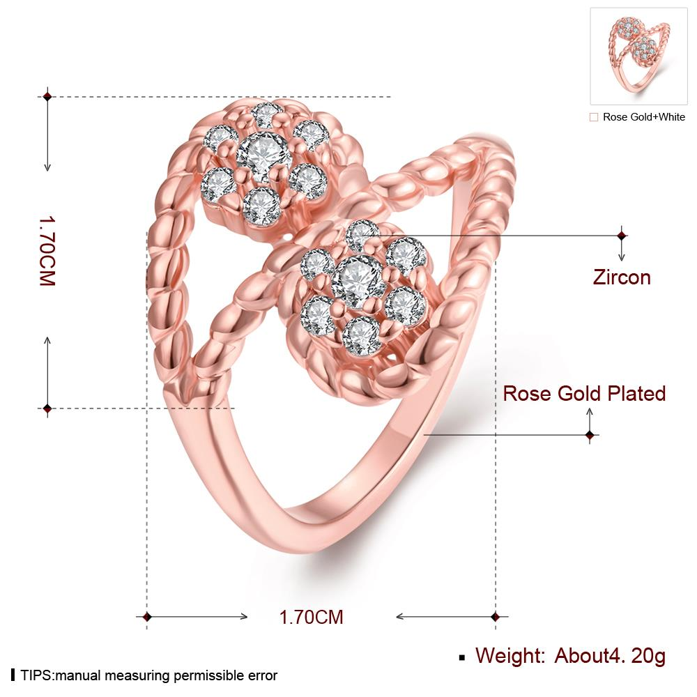 Wholesale Romantic Rose Gold Plant White CZ Ring TGGPR665 0