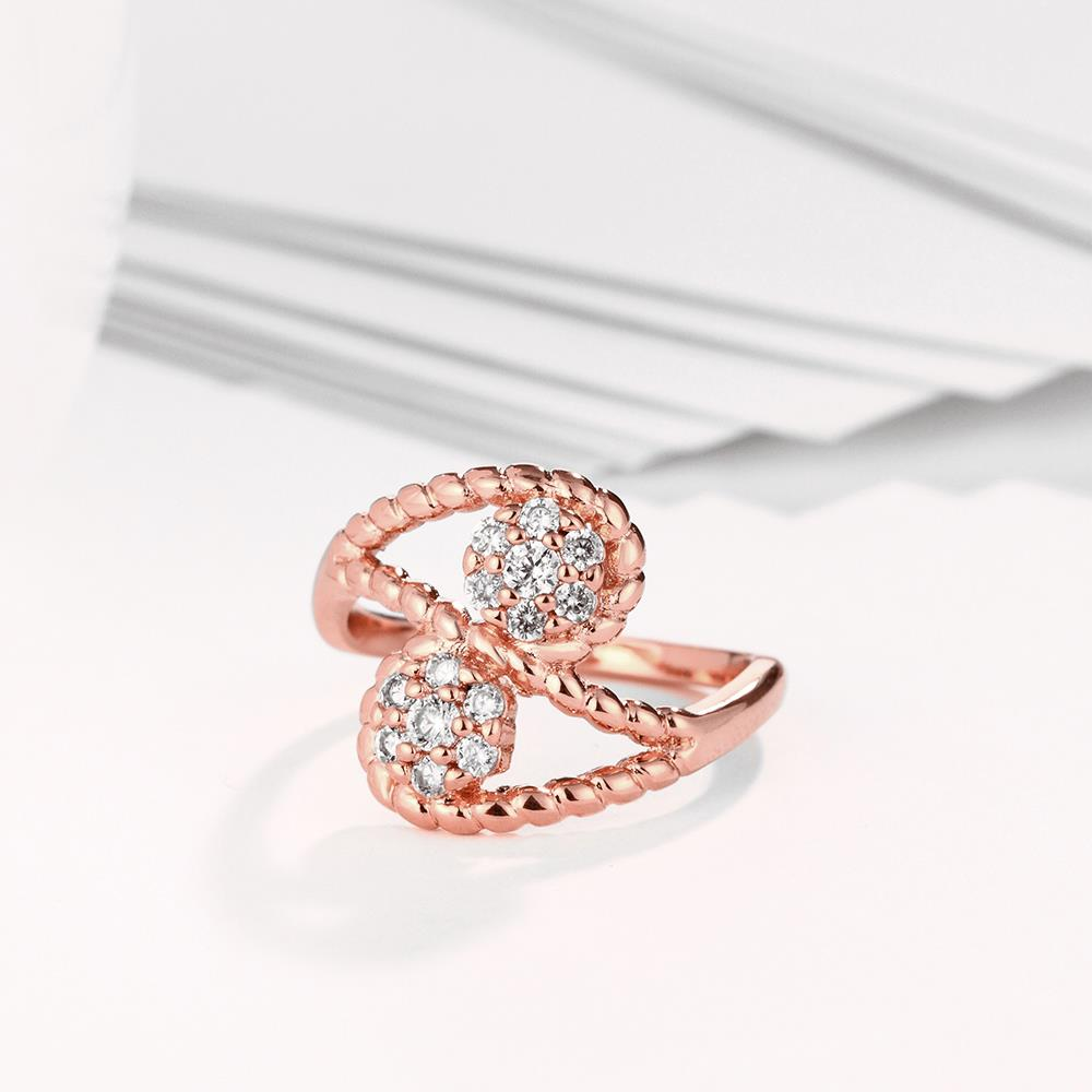 Wholesale Romantic Rose Gold Plant White CZ Ring TGGPR665 3