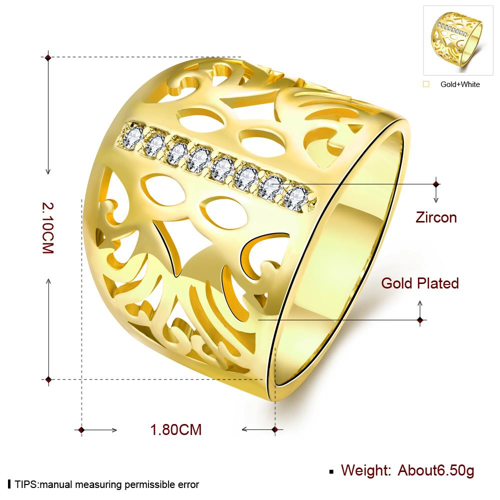 Wholesale Classic 24K Gold Geometric CZ Ring TGGPR1188 0