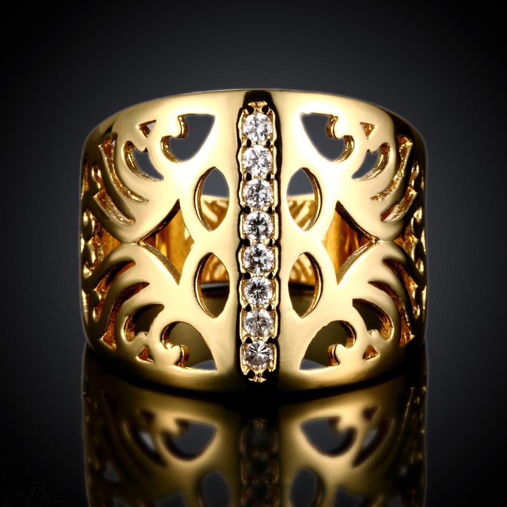 Wholesale Classic 24K Gold Geometric CZ Ring TGGPR1188 1
