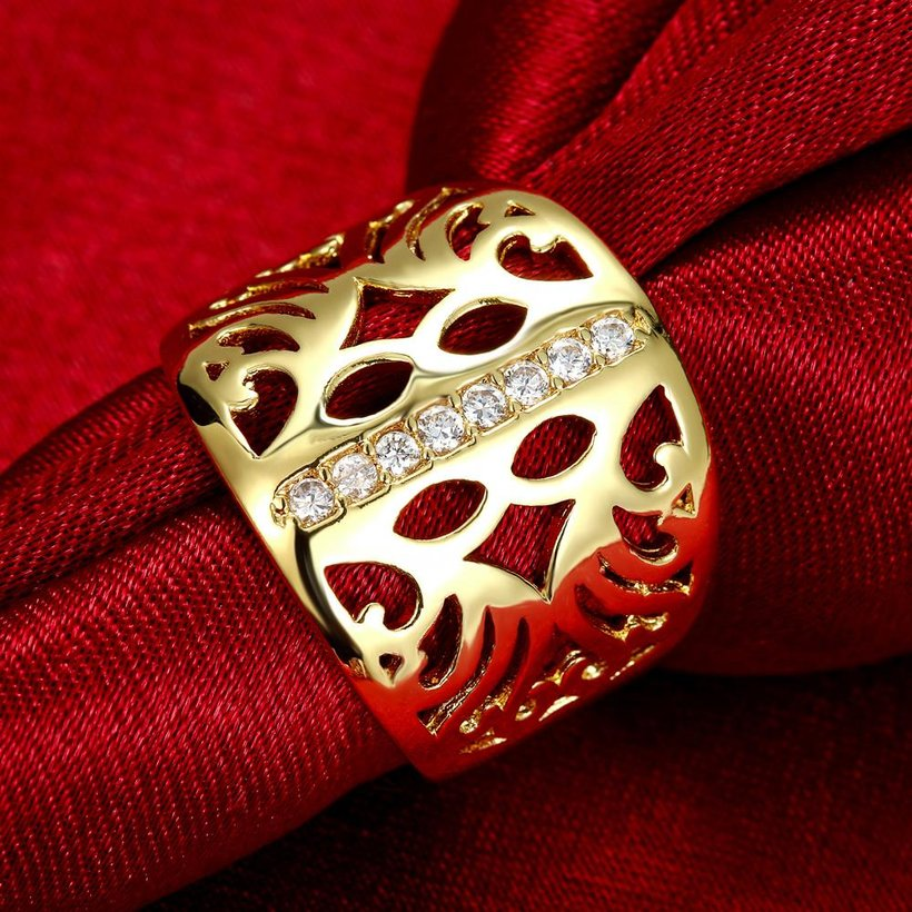 Wholesale Classic 24K Gold Geometric CZ Ring TGGPR1188 2