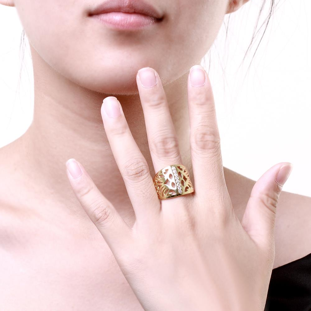 Wholesale Classic 24K Gold Geometric CZ Ring TGGPR1188 3