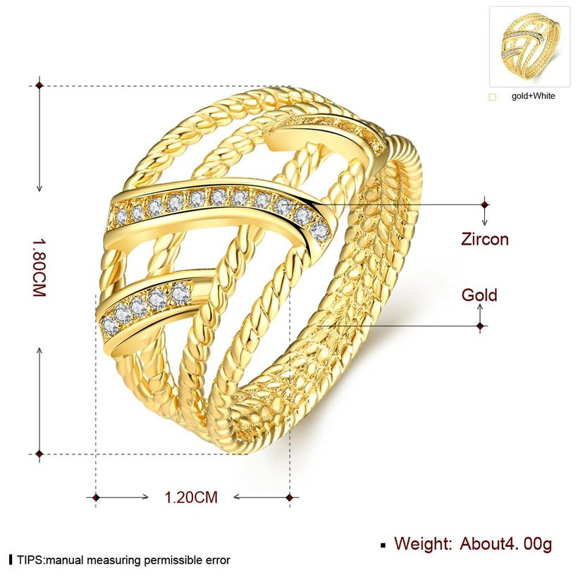 Wholesale Classic 24K Gold Geometric White CZ Ring TGGPR1327 3