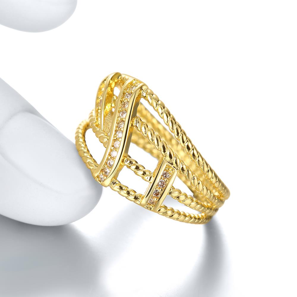 Wholesale Classic 24K Gold Geometric White CZ Ring TGGPR1327 4