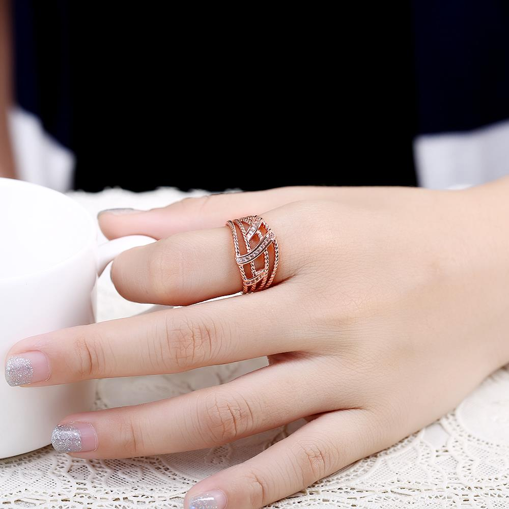 Wholesale Classic Rose Gold Geometric White CZ Ring TGGPR1334 0