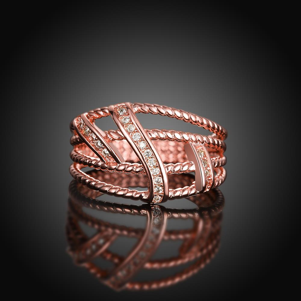 Wholesale Classic Rose Gold Geometric White CZ Ring TGGPR1334 2